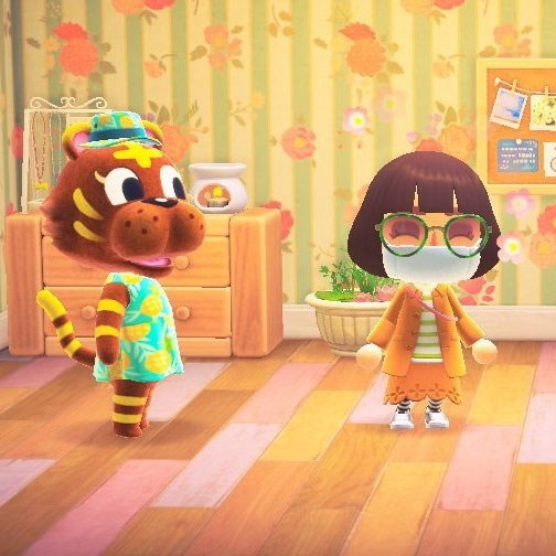 Bangle the peppy tiger and Rachel's character in 'Animal Crossing: New Horizons'